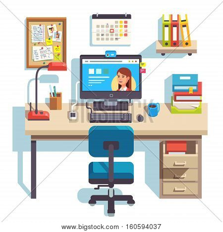 Home office with a computer, comfortable chair and a pedestal drawer. Student work desk. Flat style modern vector illustration.
