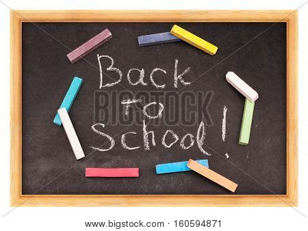 Back to school written on chalkboard