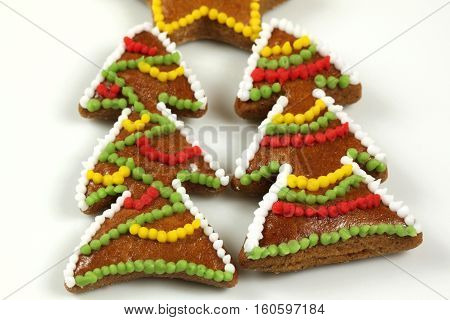 Christmas trees two decorated colorful gingerbread cookies