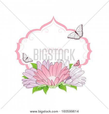 Floral frame with flower chamomile and butterflies. Element for design. Vector illustration.