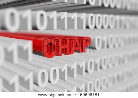 CHAP, presented in the form of a binary code with blurred background 3d illustration