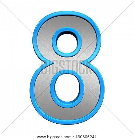 One digit from brushed silver with blue frame alphabet set, isolated on white. 3D illustration.