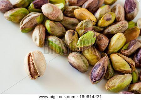 Extreme close-up image of pistachios