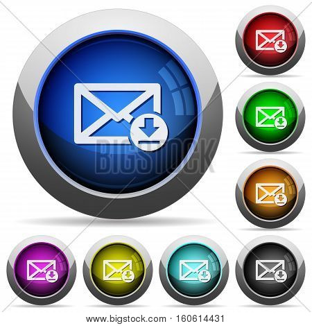 Receive mail icons in round glossy buttons with steel frames
