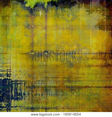 Sharp textured background, aged vintage backdrop with grungy style elements and different color patterns: yellow (beige); brown; green; blue; purple (violet); black