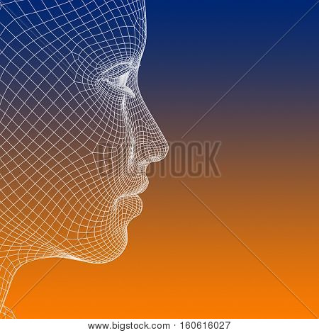Concept or conceptual 3D illustration wireframe young human female or woman face or head on blue orange background