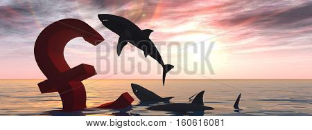 Conceptual 3D illustration bloody pound symbol or sign sinking in water or sea, black sharks eating, metaphor or concept for crisis in Europe banner