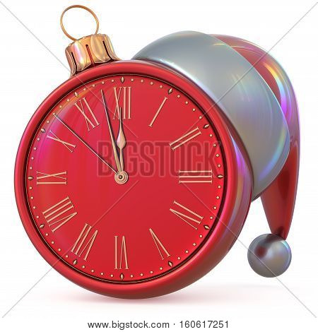 Clock New Years Eve last hour midnight countdown time Christmas ball Santa Claus hat decoration ornament red adornment. 3d illustration
