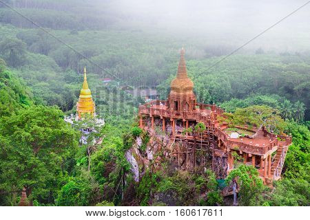 Landscape view of Khao Na Nai Luang temple on peak mountain at Surat Thani Province Southern of Thailand