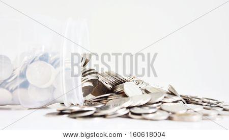 saving money, falling money box with white background,blued background