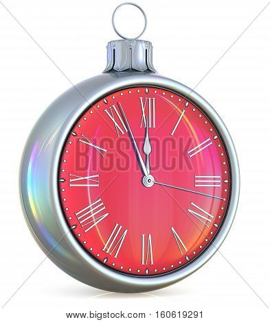 New Year's Eve clock midnight last hour countdown pressure Christmas ball ornament decoration silver red sparkly adornment bauble. 3d illustration
