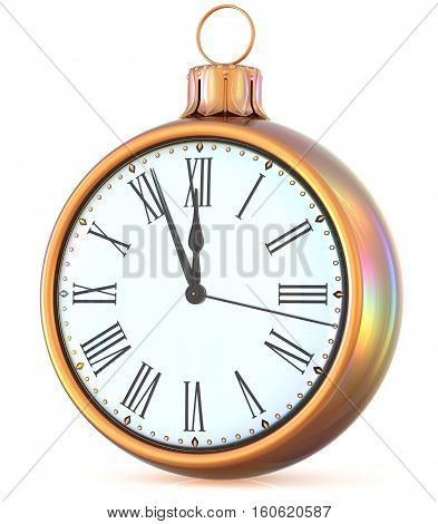 New Year's Eve clock midnight last hour countdown pressure Christmas ball ornament decoration gold white sparkly adornment bauble. 3d illustration