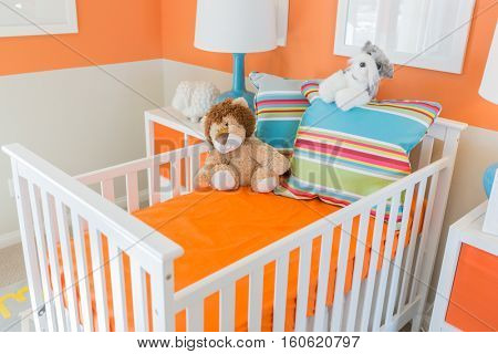 Bright Vibrant Orange Baby Room Interior of House.
