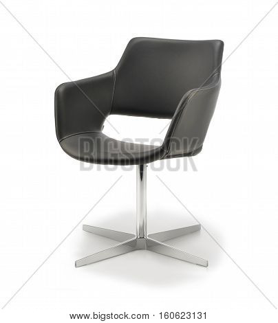 Office Chair of black leather isolated on white background