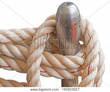 Tight rope knot on wood of ship