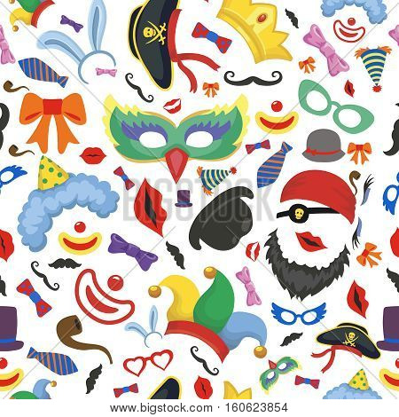 Party photo booth props seamless pattern background. Glasses, hats, lips, mustaches on white background.