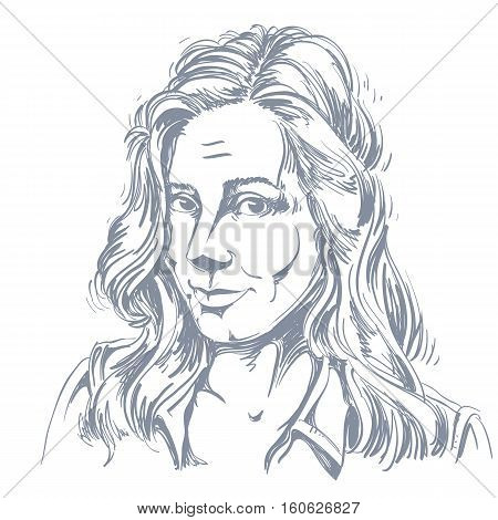 Monochrome Vector Hand-drawn Image, Naive Young Woman Making Innocent Face. Black And White Illustra