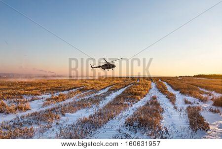 Ukrainian Army Helicopter Patrols The Area Of Of The Antiterrorist Operation