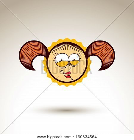 Vector graphic art drawing of kid face hand drawn cute laughing girl with stylish haircut. Social network theme illustration. Human emotions idea.