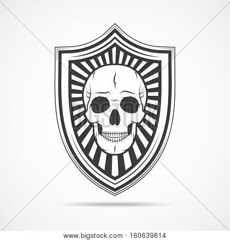Black shield with human skull on light background. Shield icon in flat design. Vector illustration.
