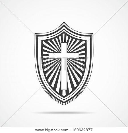 Black shield with Christian cross on light background. Shield icon in flat style. Vector illustration.