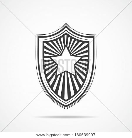 Black shield with star on light background. Shield icon in flat style. Vector illustration.