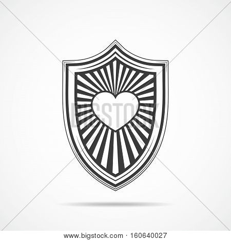 Black shield with symbol of heart on light background. Shield icon in flat style. Vector illustration.