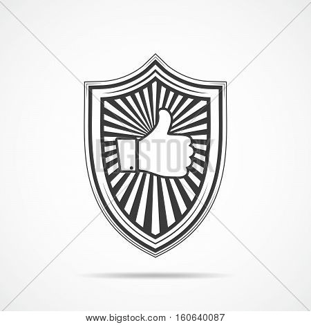 Black shield with like hand icon on light background. Shield icon in flat style. Vector illustration.