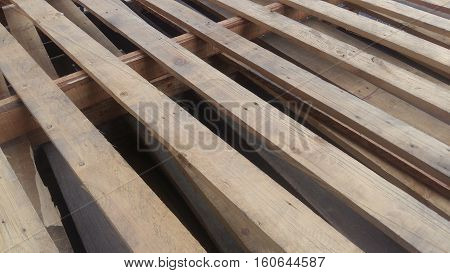Wooden Pallets Are Stacked For Use With Industrial Usage