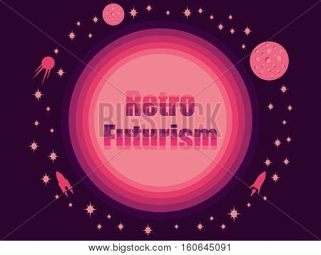Retro futurism in 80's retro style. Space travel asteroids and space ships. Vector illustration.