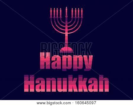 Happy hanukkah in 80's retro style. Text in the futuristic style neon. Vector illustration.