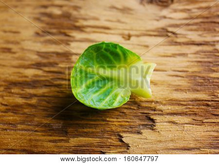 Brussels sprouts leaf, closeup