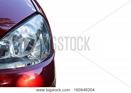 the exterior automotive headlights in a red car