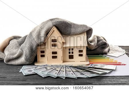 Plywood toy house with warm scarf and dollars on white background