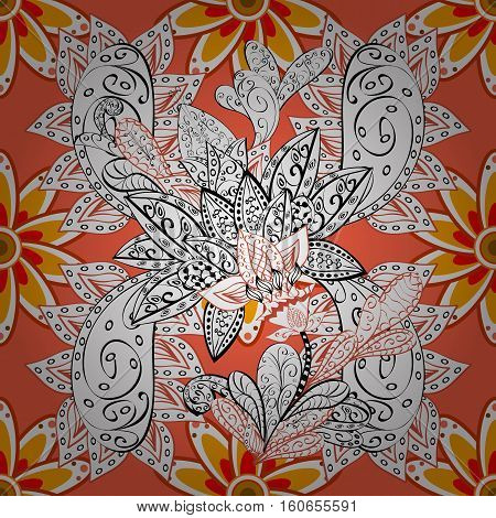 Floral seamless background. Orange background with white flowers.