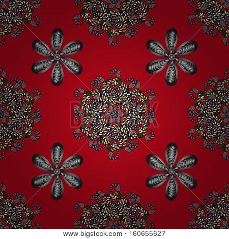 vector illustration texture. Red backgrounw with silver flowers.