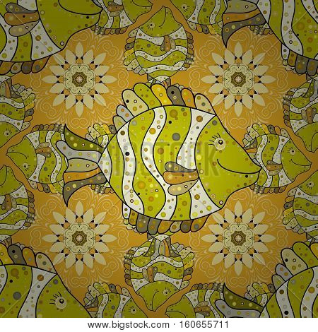 Seamless Repeating Leaf yellow Background. Vector Leafs Silhouette Seamless Pattern. Beige. Fish. Petal flower.