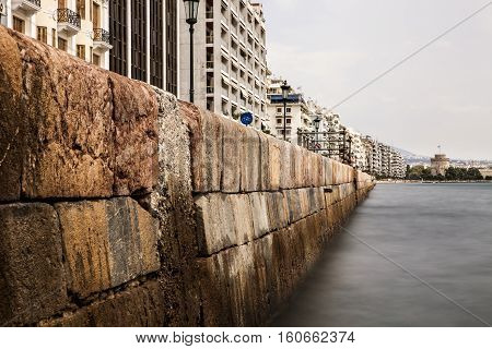 Rare View of Port of Thessaloniki and White Tower Greece Long Exposure Shot