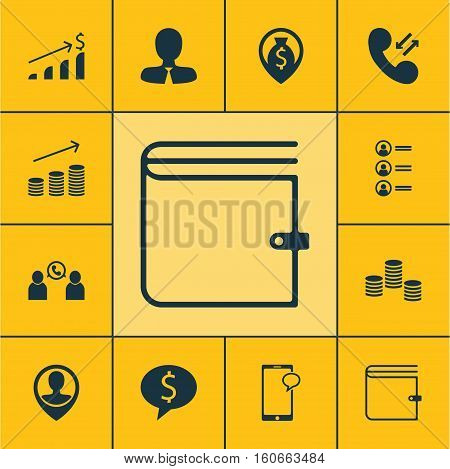 Set Of Hr Icons On Money, Cellular Data And Phone Conference Topics. Editable Vector Illustration. Includes Map, Chat, Growth And More Vector Icons.