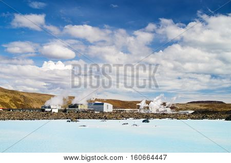 Geothermal power plant by the blue lagoon lake