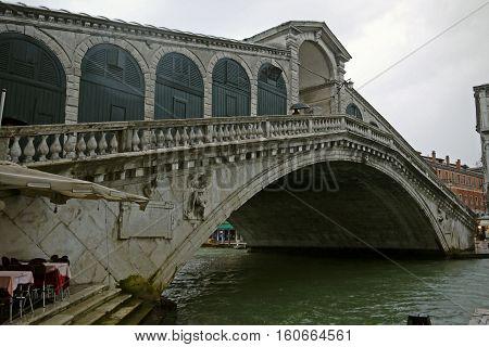 Beautiful view of Rialto Bridge, Venice. ITALY.