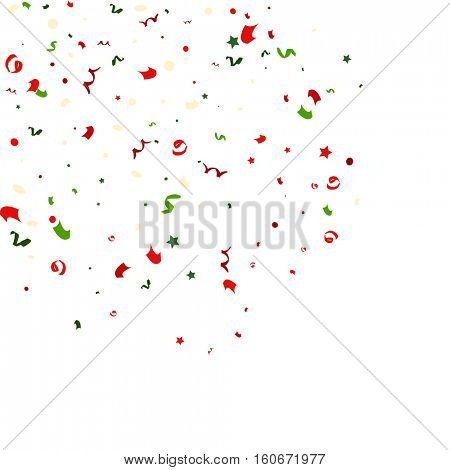 Falling tiny colorful bright confetti pieces on white background. Vector Illustration.