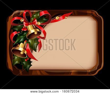 Vector illustration of shiny golden jingle bells in wooden border rectangle with copy space for text. Christmas element.