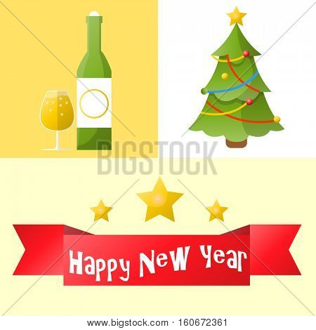 Christmas and new year icons set. Collection of winter holiday decoration objects. Vector xmas symbol.