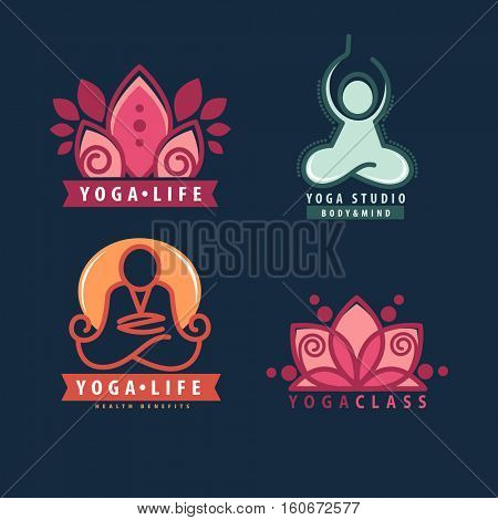 Yoga monograms and logos set. Abstract yoga design elements and symbols, icons and badges. Vector illustration