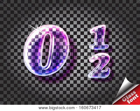 Realistic color glass alphabet font with transparency and shadows. 3D bulb isolated letters and numbers