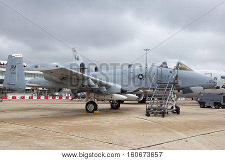 PARIS-LE BOURGET - JUN 18 2015: US AIr Force A-10A Warthog combat plane from Davis-Monthan Air Force Base at the 51st International Paris Air show