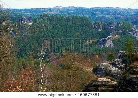Picturesque view of Bastei. It is a rock formation towering 194 metres above the Elbe River in the Elbe Sandstone Mountains of Germany major landmark of the Saxon Switzerland National Park. Germany