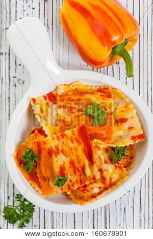 Roasted Bell Pepper and Cheese Ravioli. Selective focus.