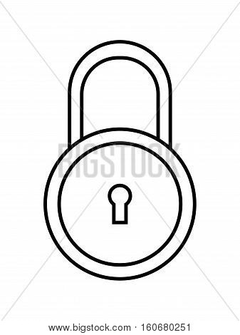 Padlock. Flat linear icon of lock isolated on white background. Object of safety, protection. Vector illustration